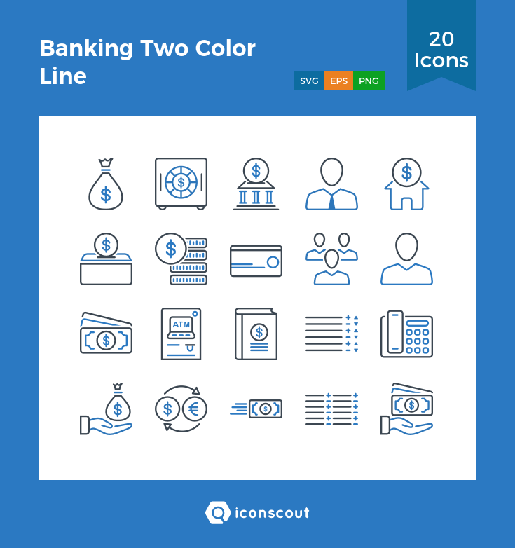 Download Banking Two Color Line Icon Pack Available In Svg Png Eps Ai Icon Fonts Color Lines Line Icon Icon Pack
