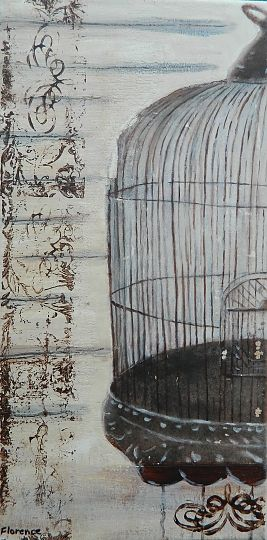 """Bird Cage 2"" by Florence Morris. Acrylic and ink, stamped and painted."