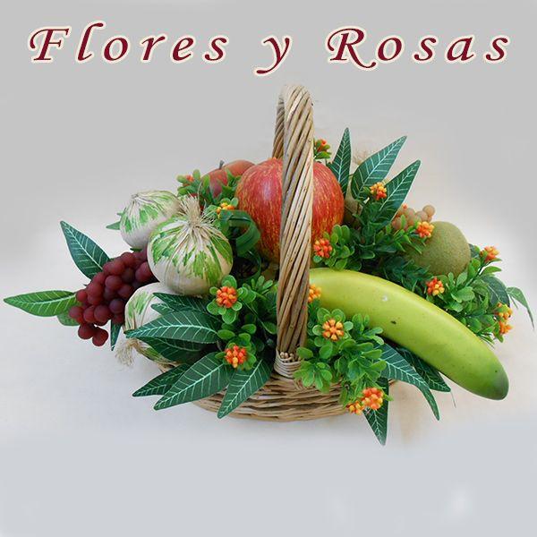 Cesta de frutas artificiales ovalada con flores silvestres - RF00250