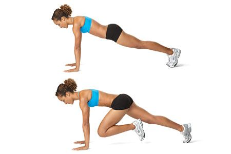 Mountain climbers tone your stomach and pump up your heart rate. They're tough, but SO worth it!