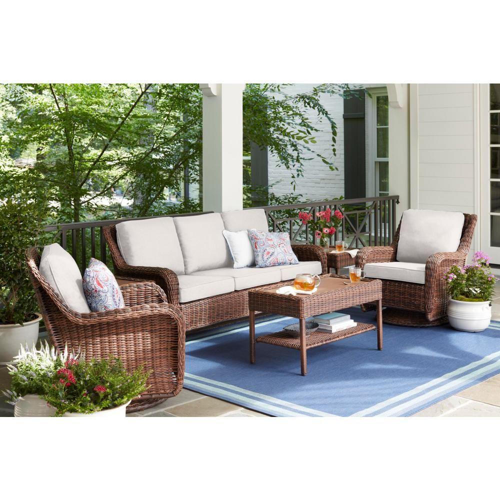 Hampton Bay Cambridge Brown Wicker Outdoor Patio Sofa With