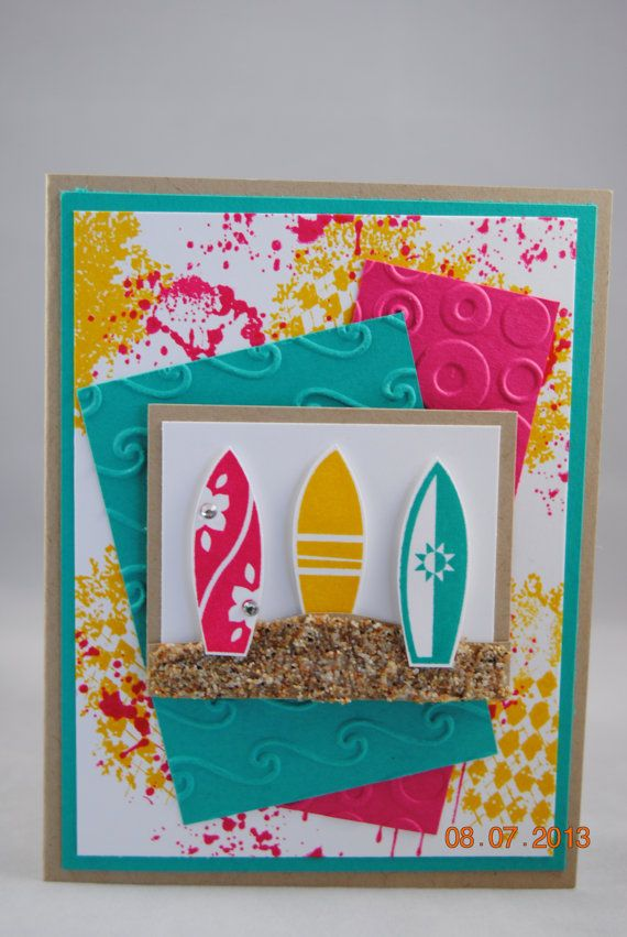 Handcrafted Surf Boards Birthday Card By PaperBlossomsbyAmy 350