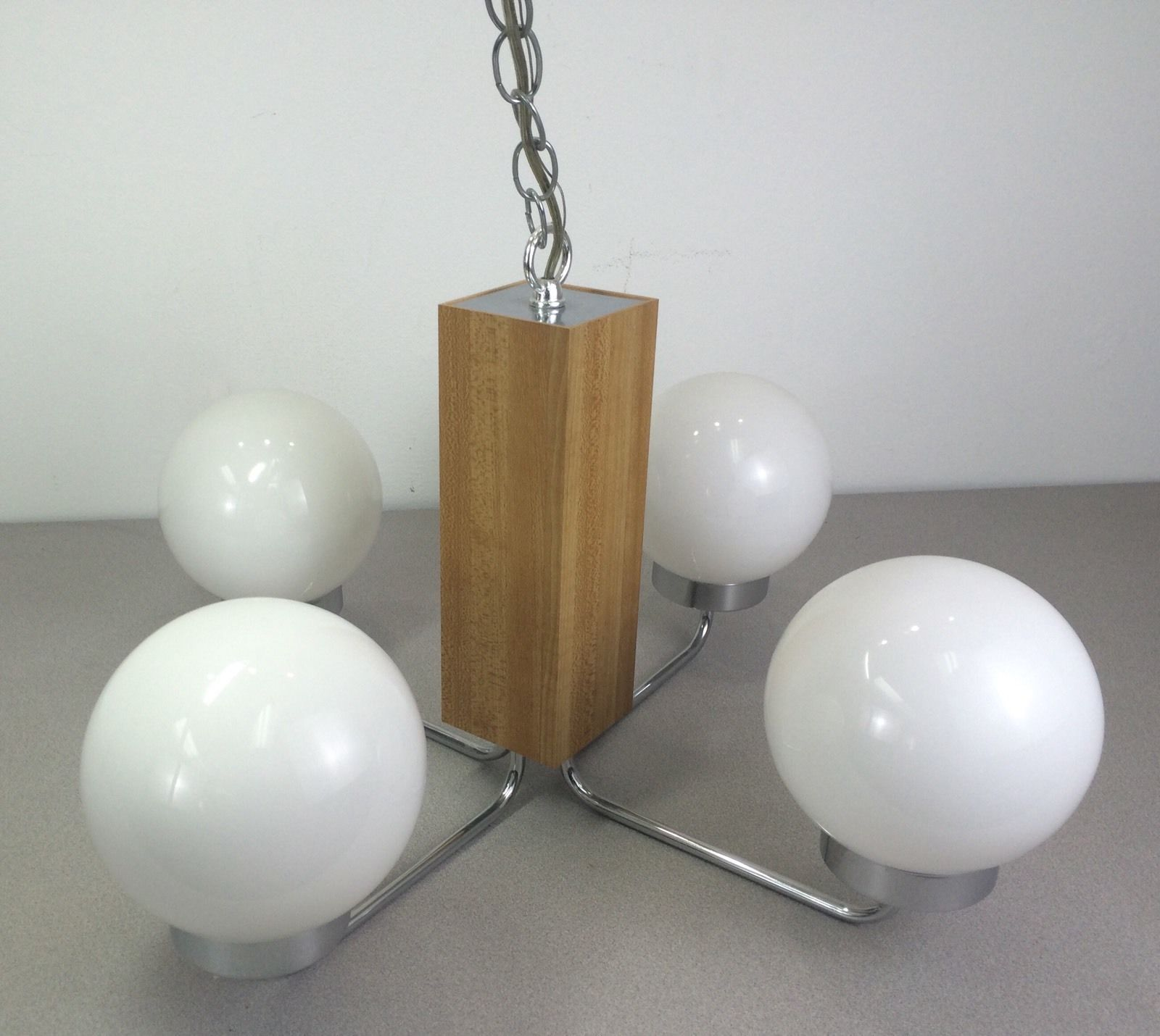 Mint Condition Vintage Mid Century Chrome 4 Globe Chandelier Hanging Lamp Light | eBay