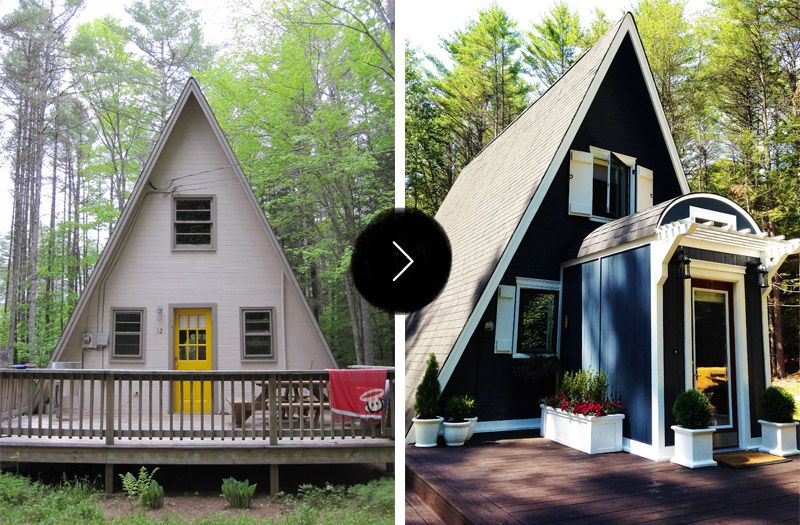 Before After An A Frame Cottage Gets An A Renovation Design Sponge How I Love An A Frame House S Small House Exteriors A Frame House Small House Design