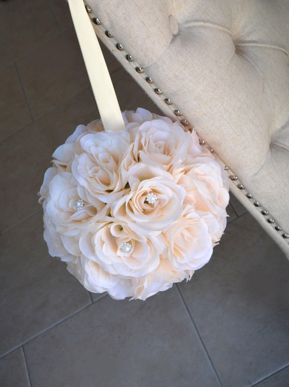 Peach Blush Flower Ball With Bling Pearl Brooch Kissing Ball