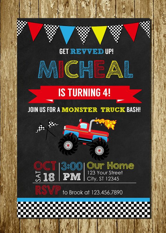 Monster Truck Blue Red Yellow Chalkboard Personalized Printable Digital Birthday Invitations FREE Thank You Card On Etsy 1300