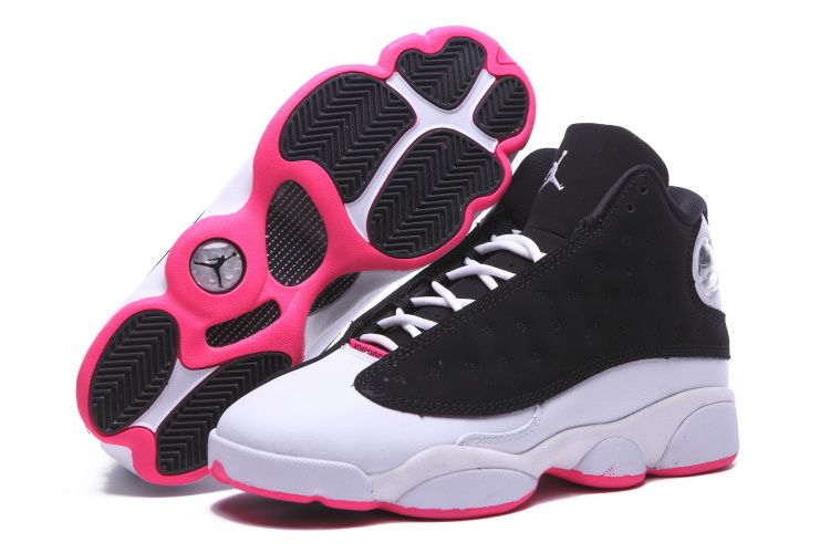 newest collection 77d6d 8d28c Air Jordan 13 zapatos negro blanco rosado 2015 de las mujeres