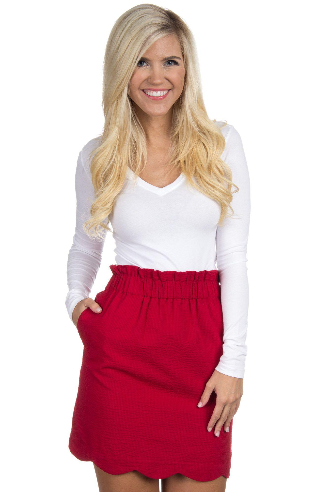 Scalloped Solid Seersucker Skirt