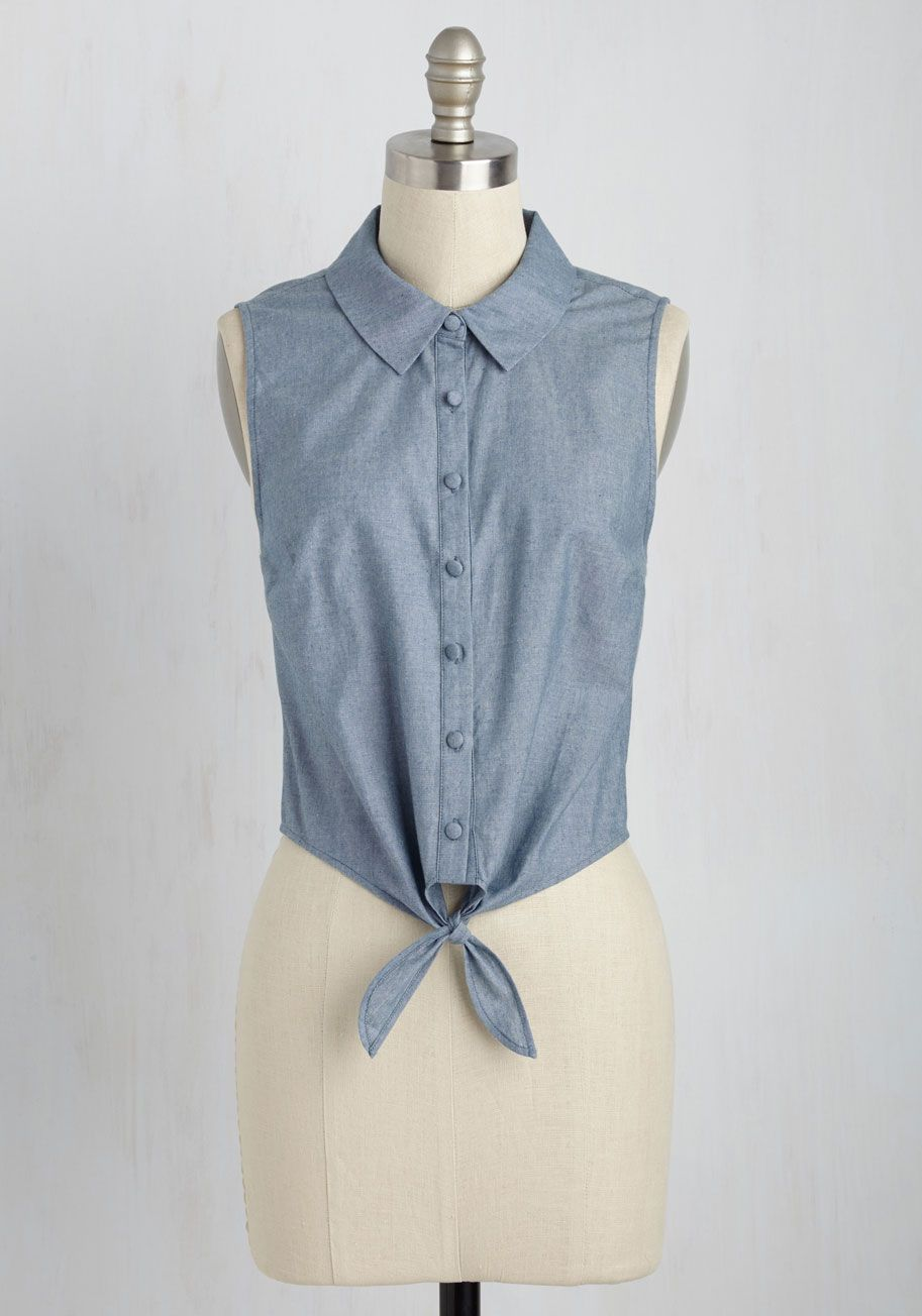 Pros and Convertibles Top in Chambray