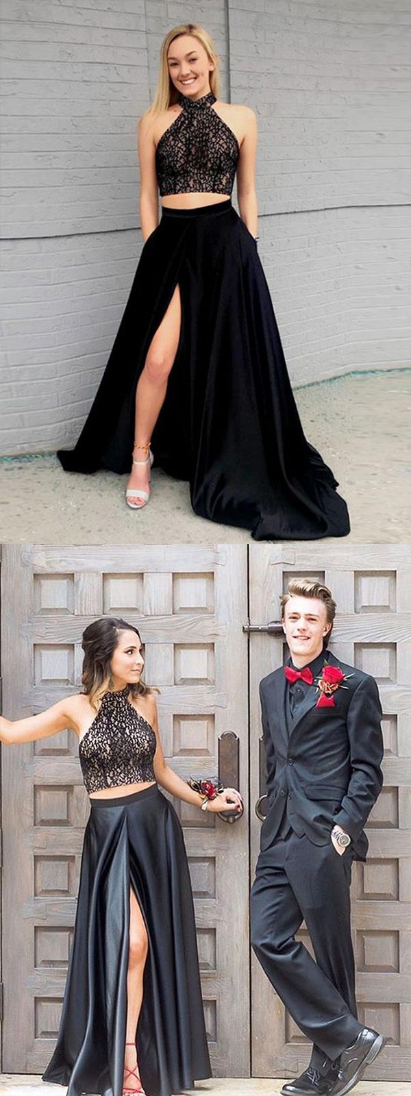 Two piece halter sleeveless splitfront black prom dress with lace