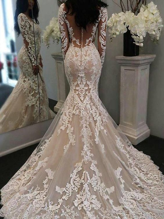 Photo of Vintage Inspired Mermaid Lace V-neck Wedding Dress with Long Sleeves,GDC1097
