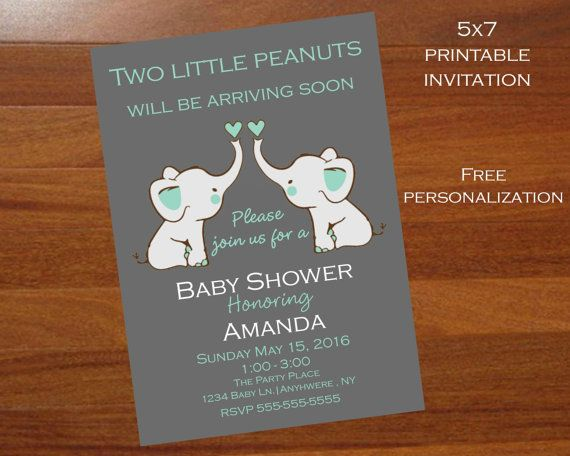 Elephant Themed Twins Baby Shower Invitationtwin Elephant Etsy Twins Baby Shower Invitations Elephant Baby Shower Invitations Twins Baby Shower