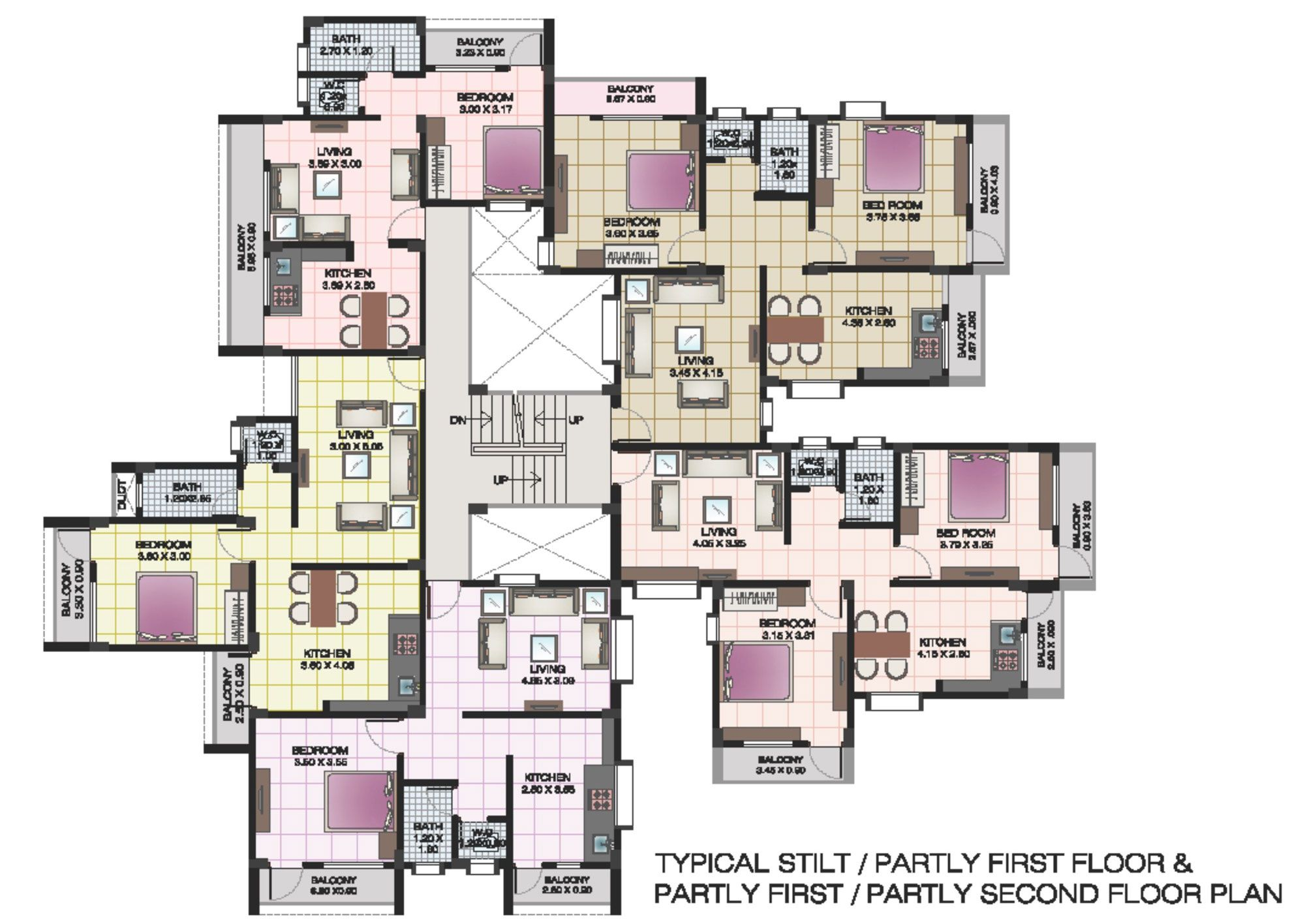 Apartment structures apartment floor plans of shri for 4 apartment building plans