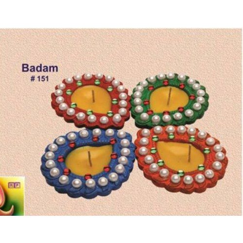 Diwali Lights Online Shop: Handmade Earthen Badam Diya With Moti Set Of 4