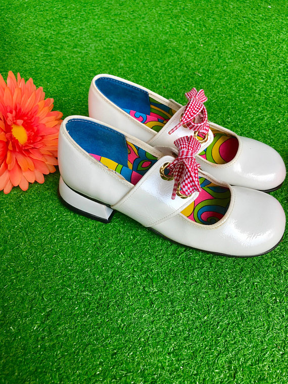 05688075f4cf2 1960s white mary jane shoes lace up peep cut out psychedelic girl's ...