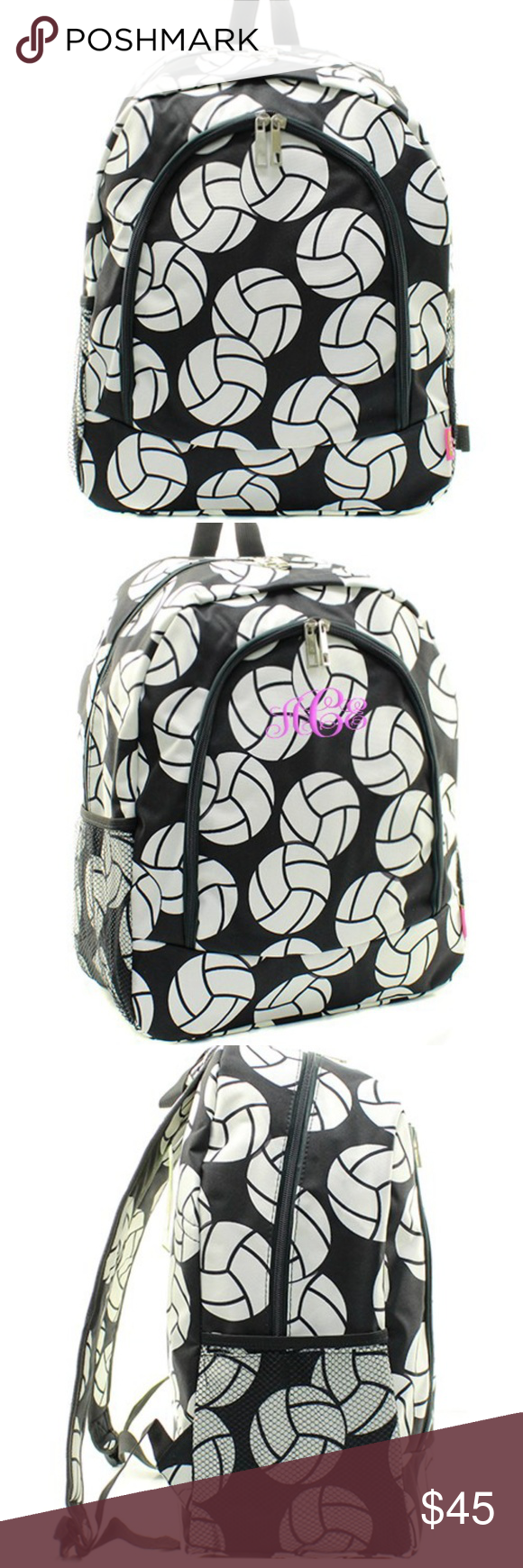 Black Canvas Vollyball Backpack Book Bag Boutique Black Canvas Bags Bookbags