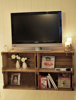 Simple Stacked Crate Tv Stand Wooden Crate Home Diy Home Decor