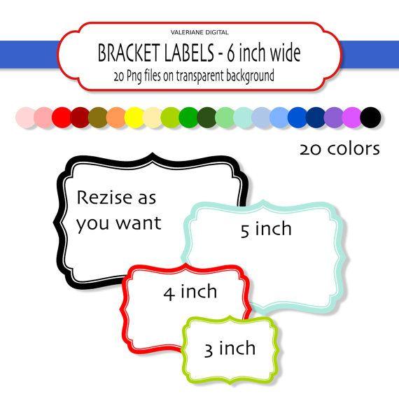 20 Digital Bracket frames or labels INSTANT by ValerianeDigital ...
