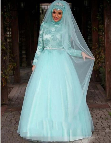 Arab Long Sleeve Muslim Hijab Islamic Wedding Dress Ball Gown ...