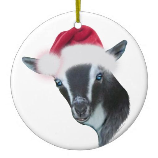 nigerian dwarf goat santa hat christmas ornament goat getyergoat goatlady christmas