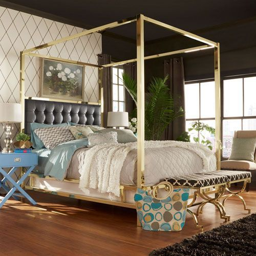 Adora Black Glam Gold Canopy Bed Amazing Design