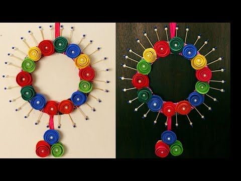 DIY wall hanging decor from old waste bangles - Room decor ideas for ...