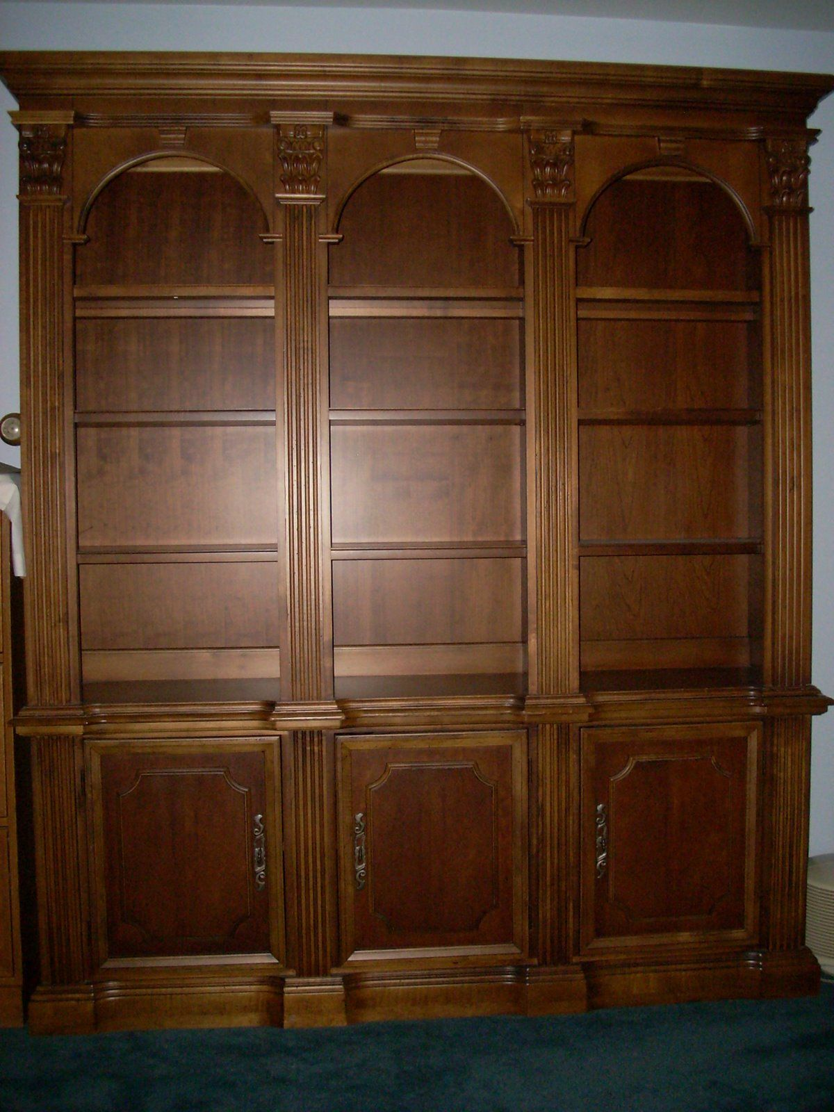 trim hooker entertainment furniture width item traditional cherry bookcases height threshold with bookcase b products hutch console creek