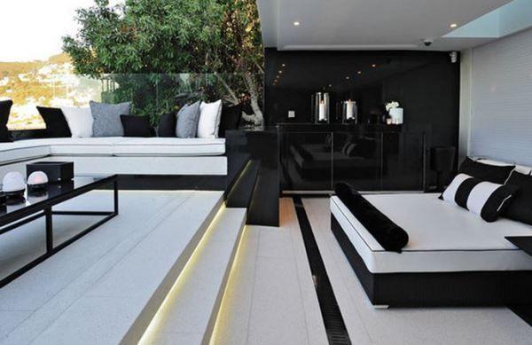 décoration salon moderne noir et blanc design tableau et