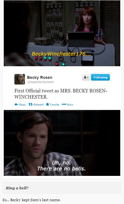 So... Becky kept Sam's last name. [gifs] #Supernatural Ugh! I so hate Becky! Creepy would-be rapist!
