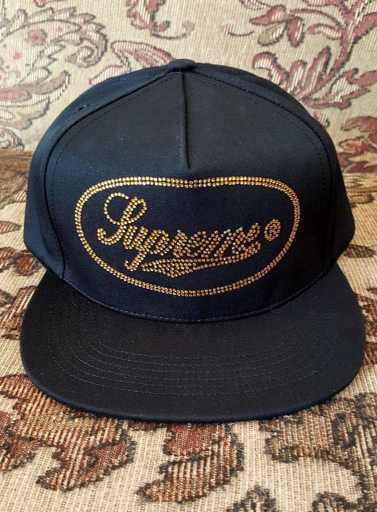 4c09697344c Supreme Studded Script Logo 5 panel hat in black F W 17  Supreme ...