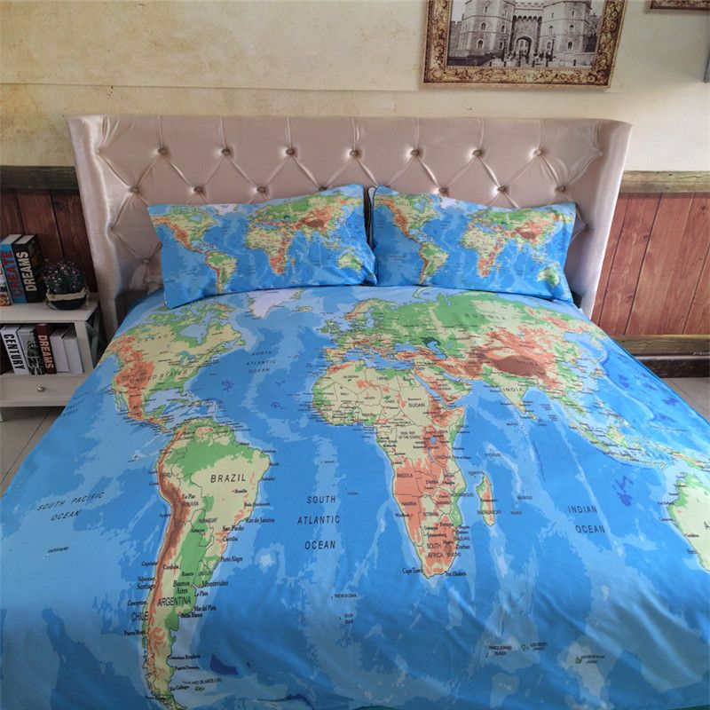 34pcs world map bedding set vivid printed blue bed cover twill cozy 34pcs world map bedding set vivid printed blue bed cover twill cozy home textil gumiabroncs Image collections