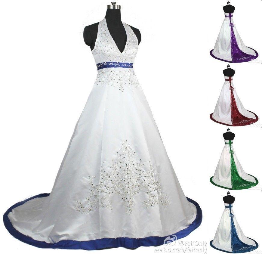 Faironly New Custom Make White/Ivory Halter Wedding Dress Bridal ...