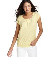 Lace Shoulder Embellished Tee - Flirty and flowy with cute details, this is your favorite tee - with a little personality. Scoop neck. Short sleeves. Gathered details beneath banded neckline and yoke. Lace detail at the shoulders. Banded hem.