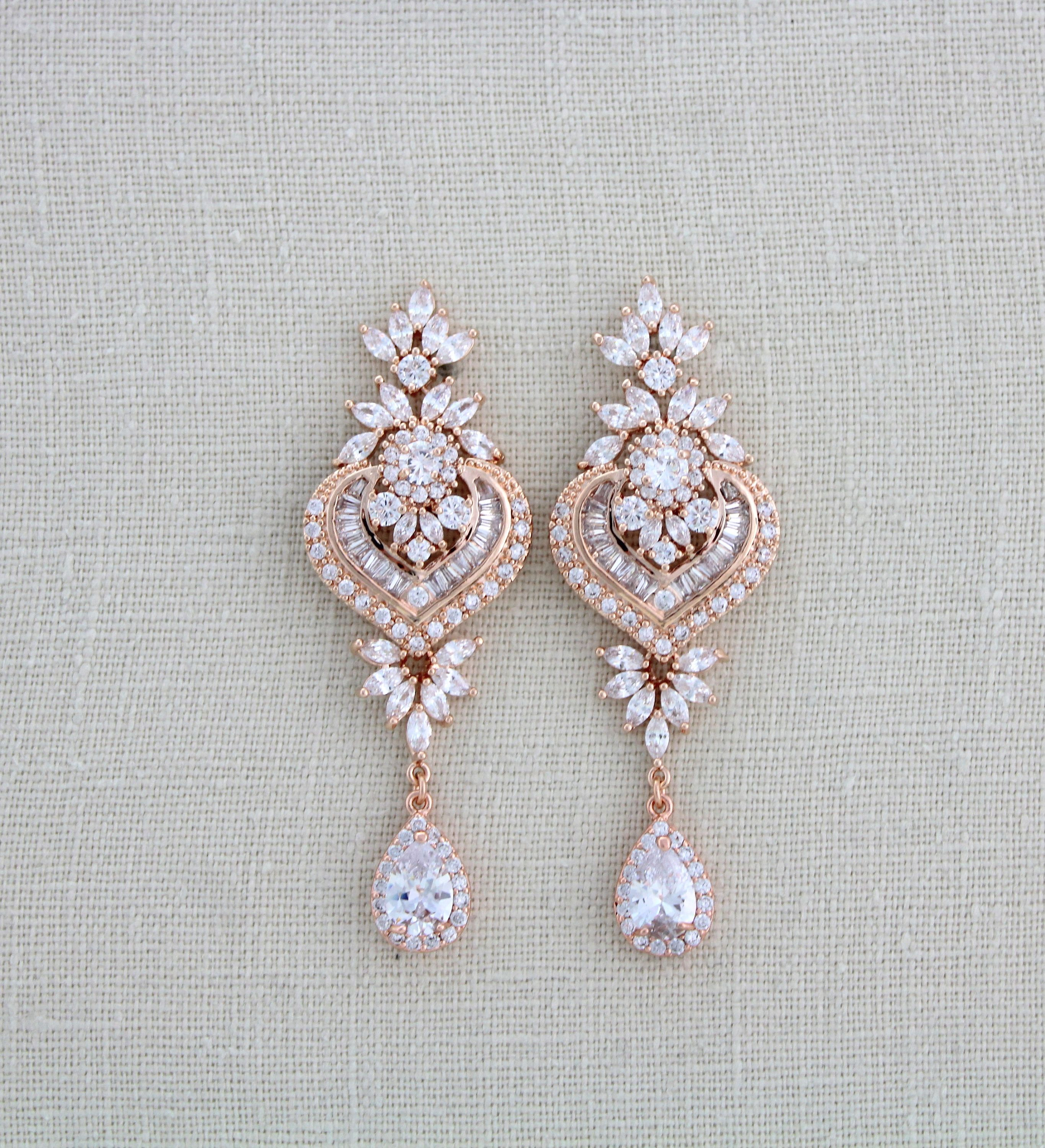 Rose gold bridal earrings bridal jewelry rose gold chandelier rose gold bridal earrings bridal jewelry rose gold chandelier earrings rose gold crystal aloadofball Image collections