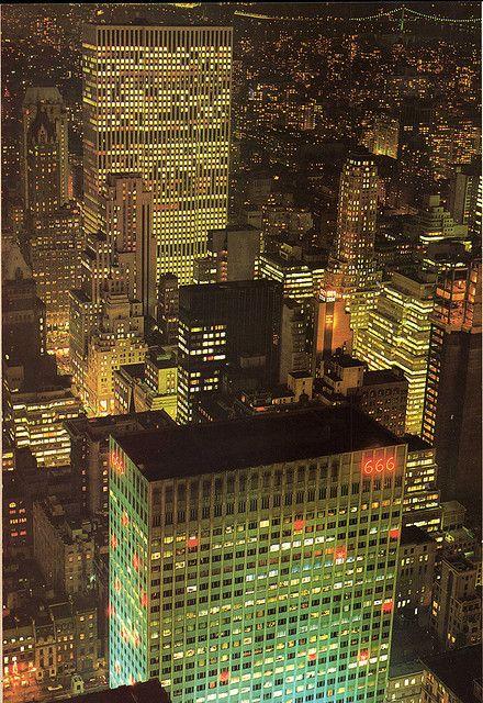 Night view from Rock Center 1970, New York