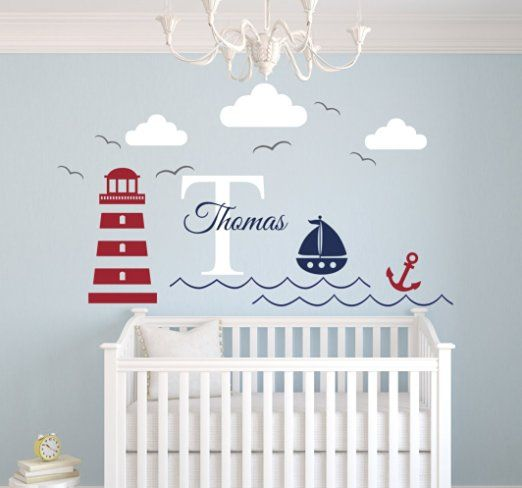 Nautical Theme Name Wall Decal - Nautical Decor - Nursery Wall Decal - Whale and…