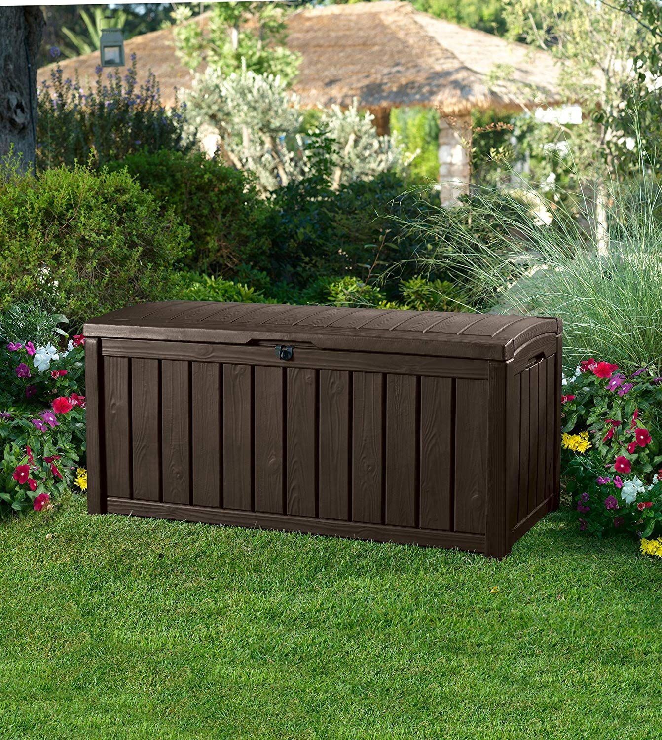 Keter Glenwood Plastic Deck Storage Container Box Outdoor Patio Furniture 101 Gal Brown By Keter Patio Storage Outdoor Storage Box Deck Storage