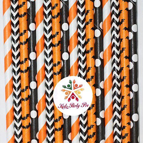 Cheap Cake Pops 100 pcs Mixed Black Orange Halloween Paper Straws - bulk halloween decorations