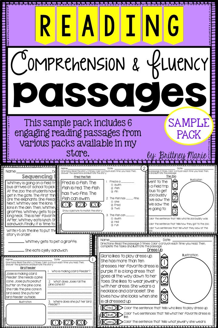 FREEBIE! Free reading comprehension and fluency passages sample ...