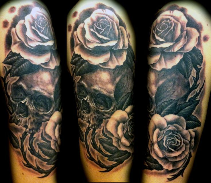 Black And White Floral With Skull Tattoo Design For Half Sleeve