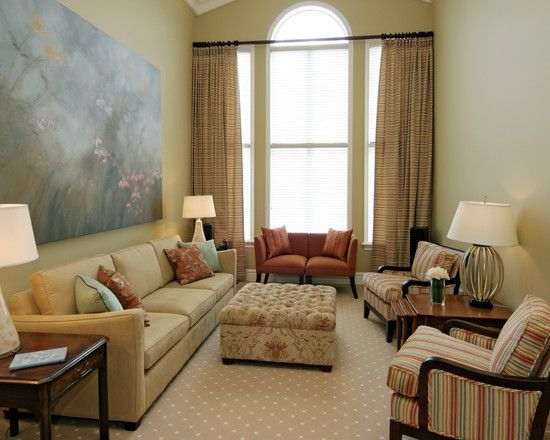 I love the striped chairs with the patterned ottoman Wonderful Small