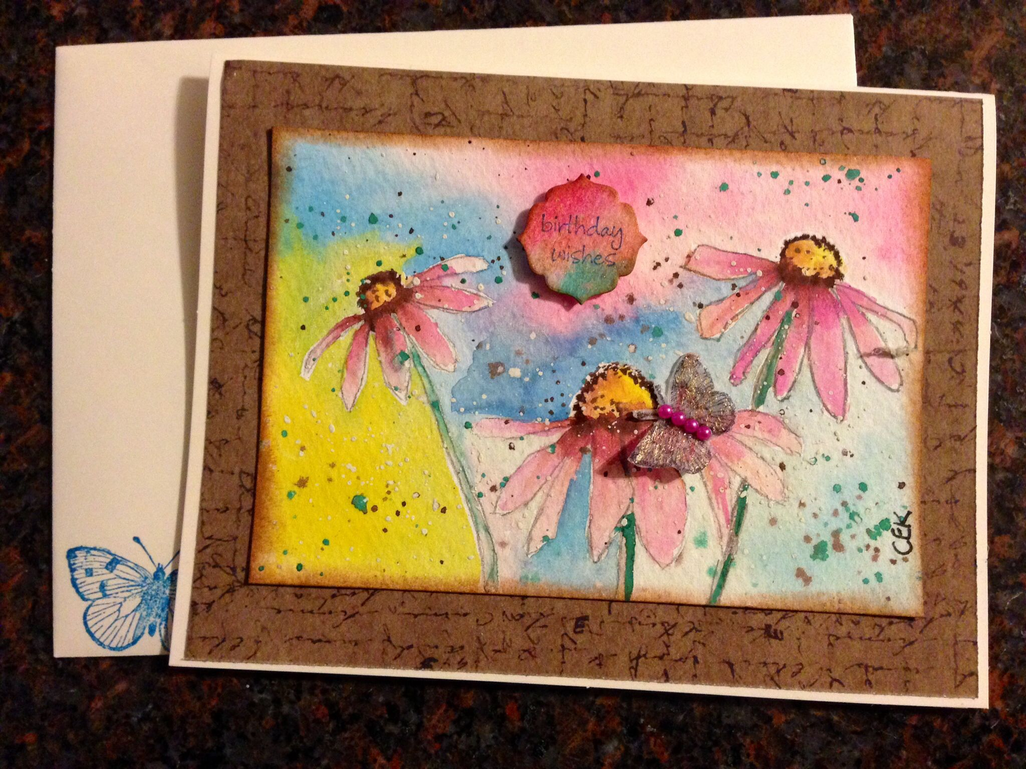 Handmade birthday card original drawing and watercolor flowers
