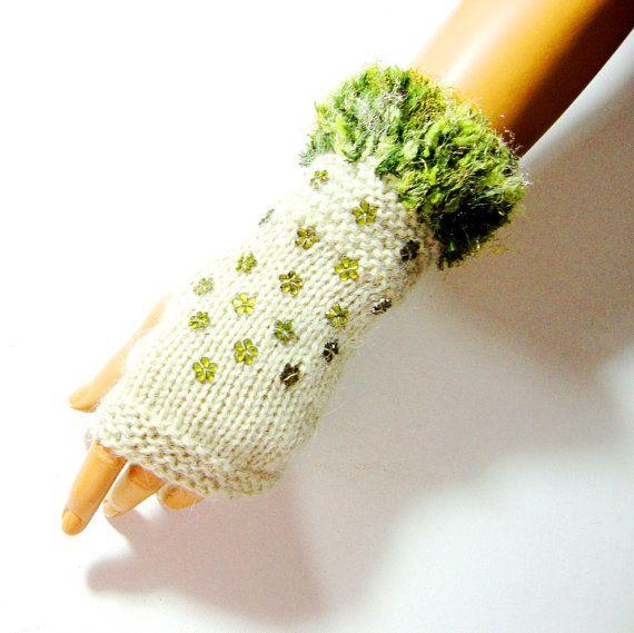Knitted Green Beige Gloves Fingerless Gloves Hand knitted by Pasin