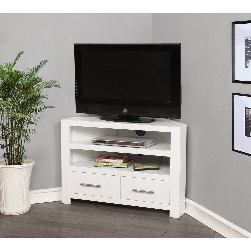 White Wood Corner Tv Unit Stand Cabinet Console Furniture With Drawers Storage Corner Tv Unit White Tv Unit Corner Tv