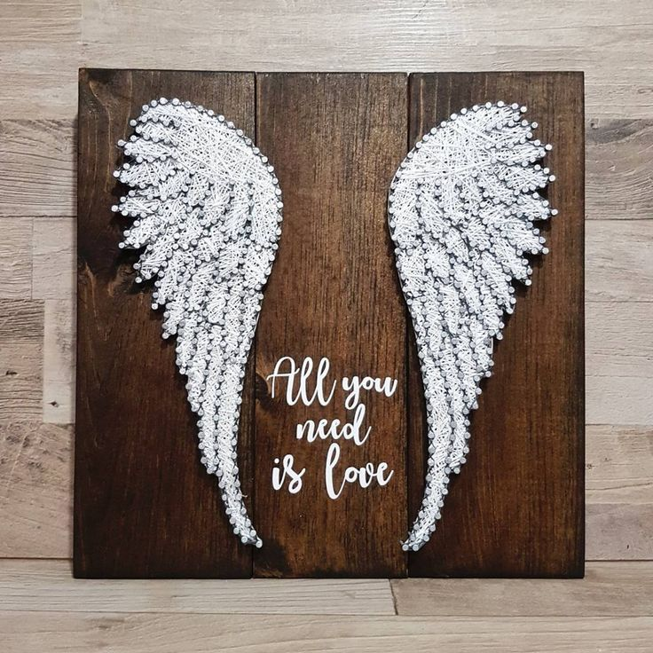 """All You Need Is Love"" quote & wings String Ar... - #Ar #Love #nursery #Quote #String #Wings #stringart"