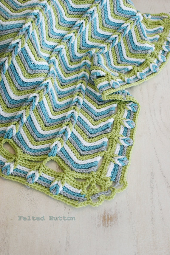 Crochet Pattern, Rolling Ridge Baby Blanket, Afghan, Any Size ...