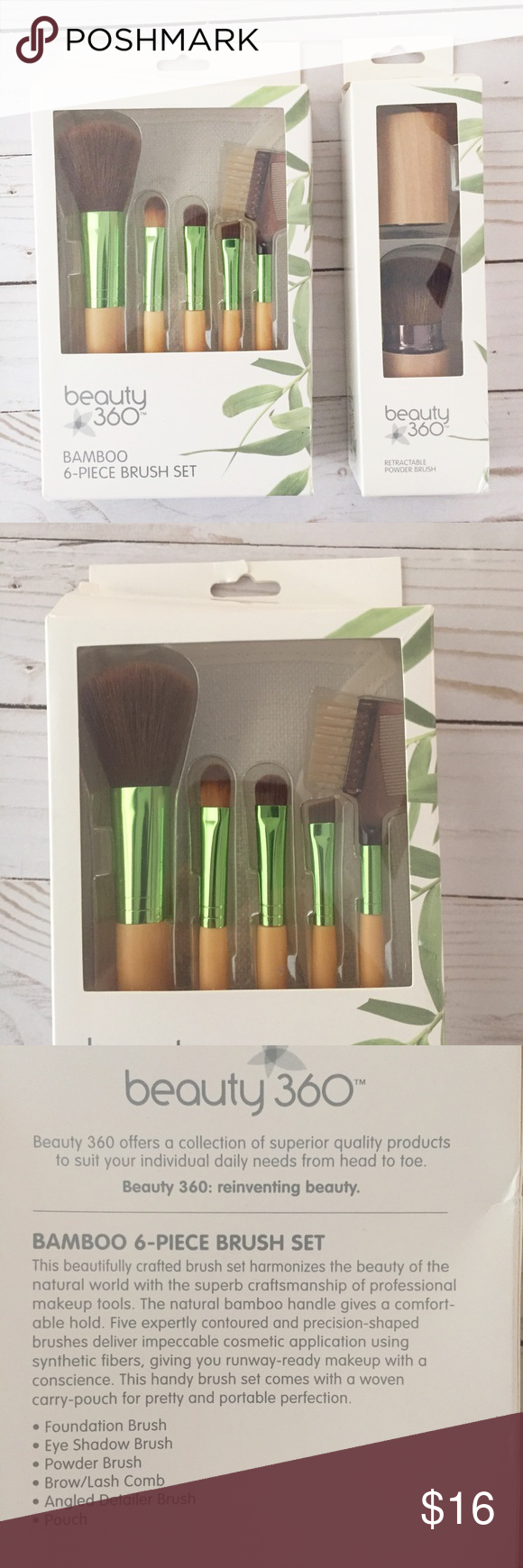 Bamboo Makeup Brushes: Bamboo Brush Set BRAND NEW Never Used. Still In Box. Open
