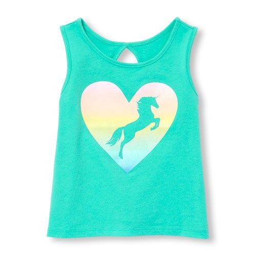 7a3b531fa9d80 Toddler Girls Matchables Sleeveless Glitter Graphic Cutout Back Tank Top