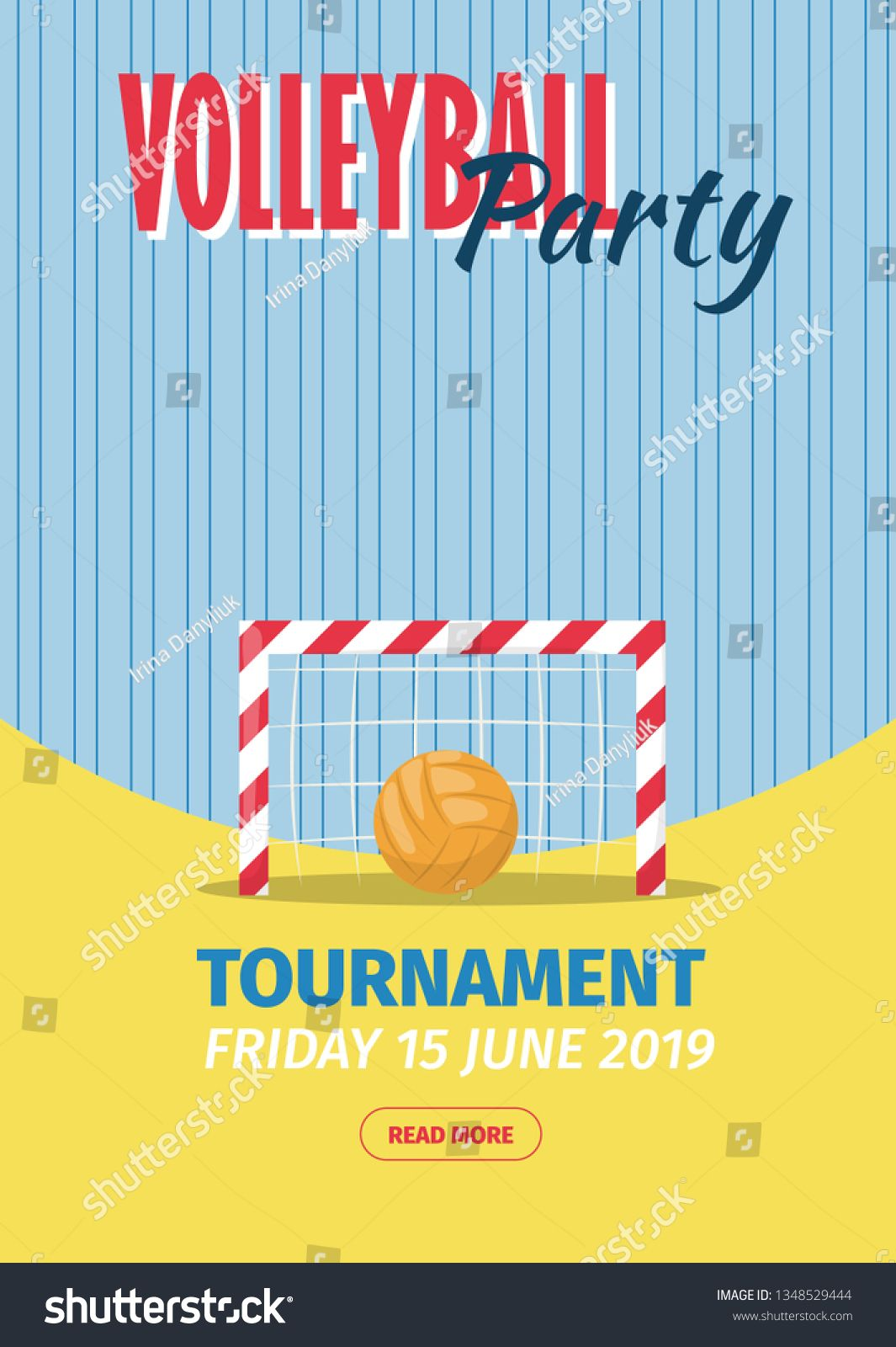 Beach Volleyball Sport Poster Vector Illustration Summer Playing Beach Volley Team Competition Invitation Pro Sport Poster Beach Volleyball Summer Invitation