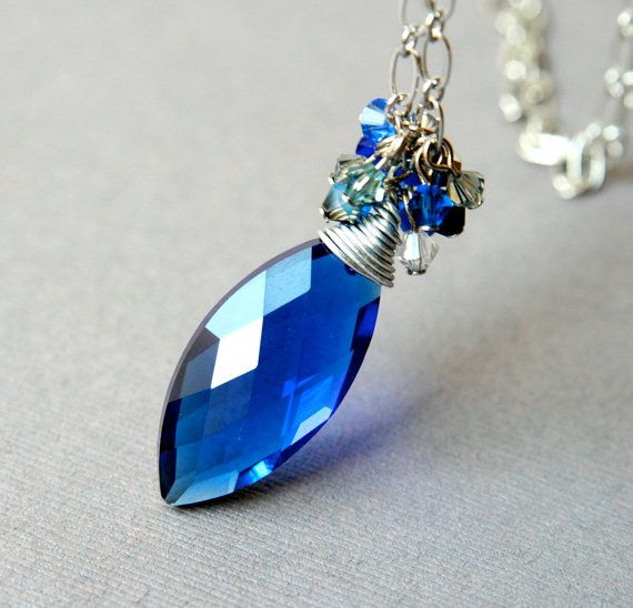 Amazing royal blue b ideas pinterest royal blue royals and royal blue crystal pendant on a metallic long chain with a cluster of crystals scattered around a large oval faceted glass drop aloadofball Images